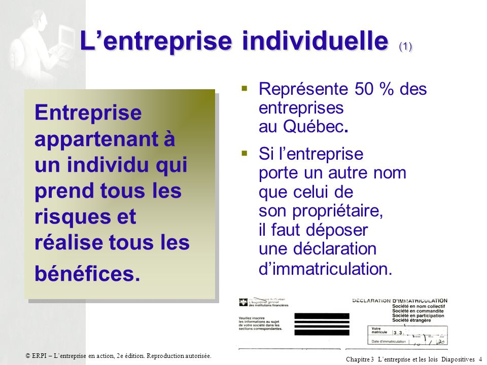 Chapitre 3 Lentreprise et les lois Diapositives 4 © ERPI – Lentreprise en action, 2e édition. Reproduction autorisée. Lentreprise individuelle (1) Ent
