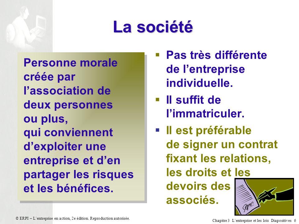 Chapitre 3 Lentreprise et les lois Diapositives 17 © ERPI – Lentreprise en action, 2e édition.