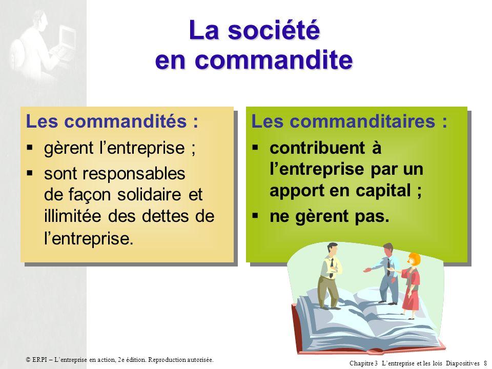 Chapitre 3 Lentreprise et les lois Diapositives 19 © ERPI – Lentreprise en action, 2e édition.