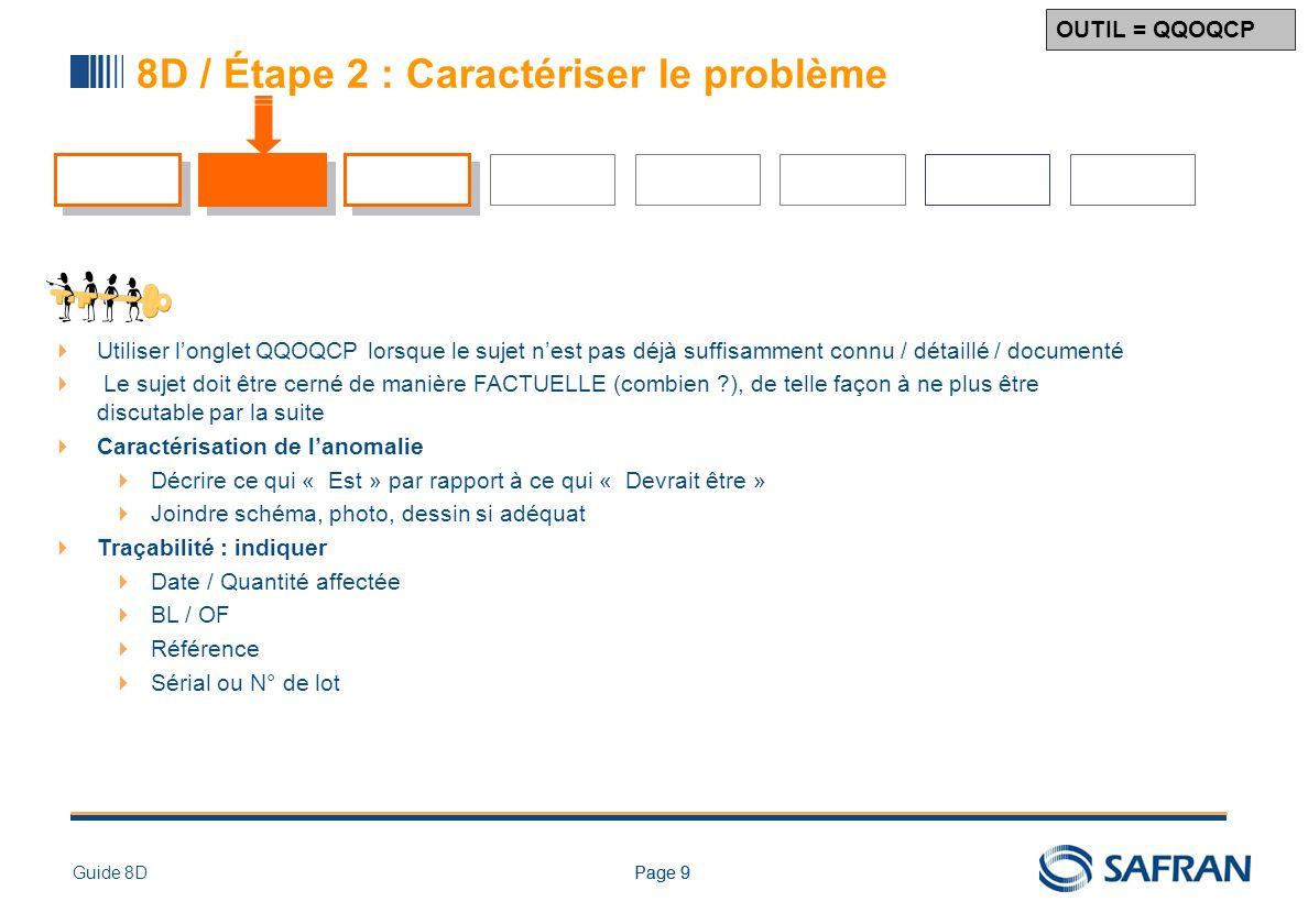 Page 9Guide 8DPage 9 8D / Étape 2 : Caractériser le problème Utiliser longlet QQOQCP lorsque le sujet nest pas déjà suffisamment connu / détaillé / do
