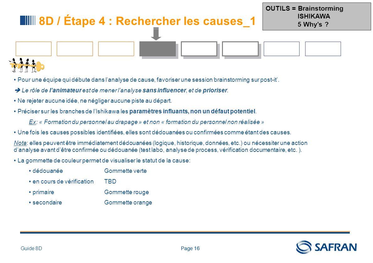 Page 16Guide 8DPage 16 8D / Étape 4 : Rechercher les causes_1 Pour une équipe qui débute dans lanalyse de cause, favoriser une session brainstorming s