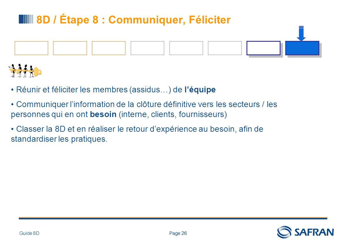 Page 26Guide 8DPage 26 8D / Étape 8 : Communiquer, Féliciter Réunir et féliciter les membres (assidus…) de léquipe Communiquer linformation de la clôt