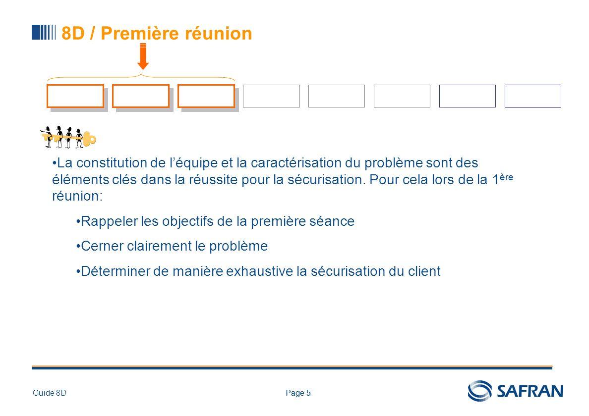 Page 5Guide 8DPage 5 8D / Première réunion La constitution de léquipe et la caractérisation du problème sont des éléments clés dans la réussite pour l