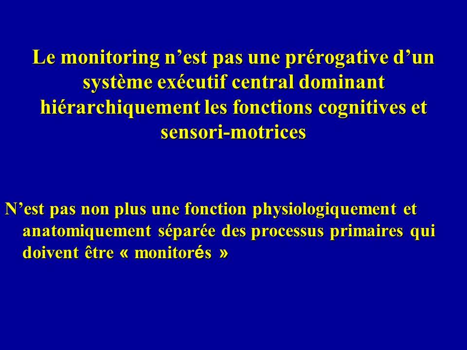 Le monitoring nest pas une prérogative dun système exécutif central dominant hiérarchiquement les fonctions cognitives et sensori-motrices Nest pas no