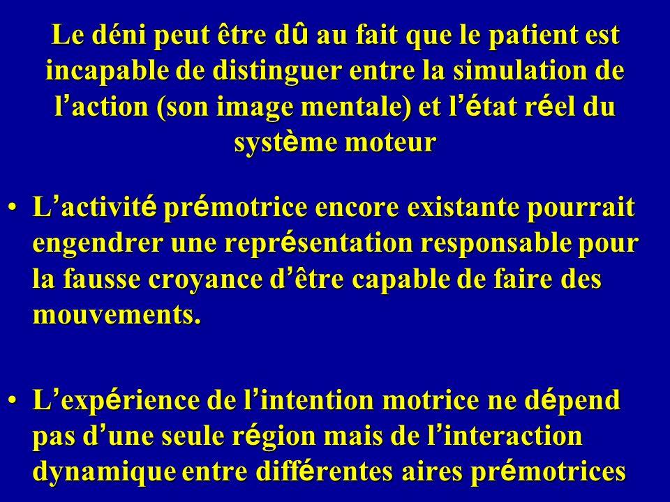 Le déni peut être d û au fait que le patient est incapable de distinguer entre la simulation de l action (son image mentale) et l é tat r é el du syst