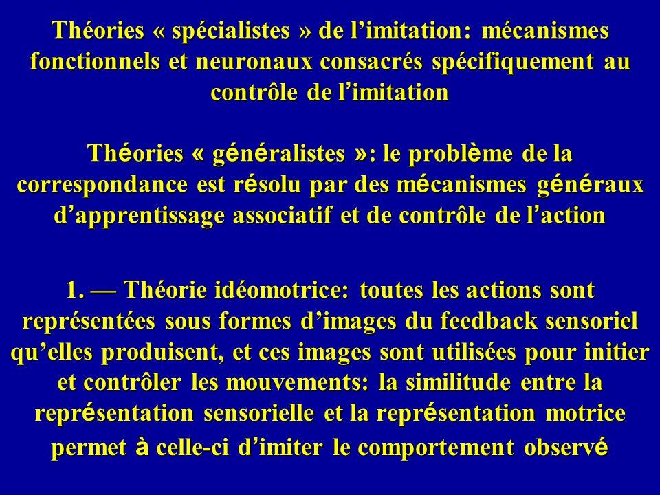 Théories « spécialistes » de limitation: mécanismes fonctionnels et neuronaux consacrés spécifiquement au contrôle de l imitation Th é ories « g é n é