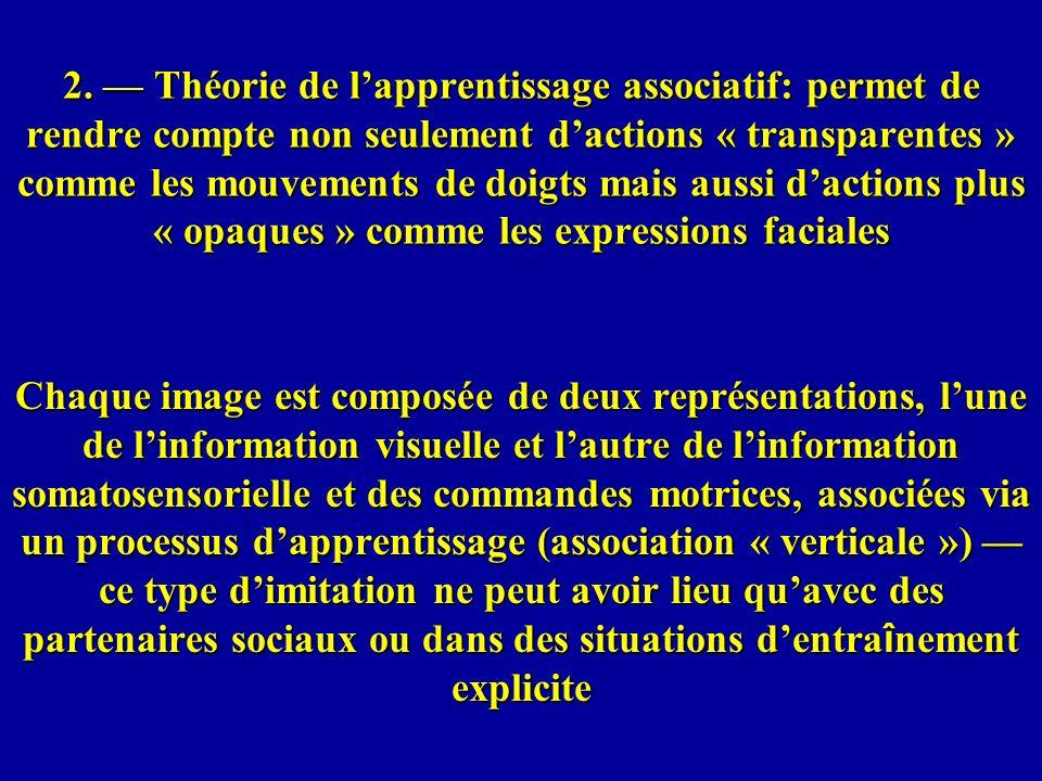 2. Théorie de lapprentissage associatif: permet de rendre compte non seulement dactions « transparentes » comme les mouvements de doigts mais aussi da