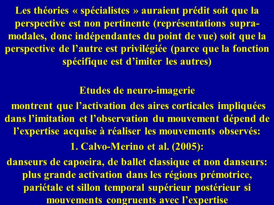 Les théories « spécialistes » auraient prédit soit que la perspective est non pertinente (représentations supra- modales, donc indépendantes du point