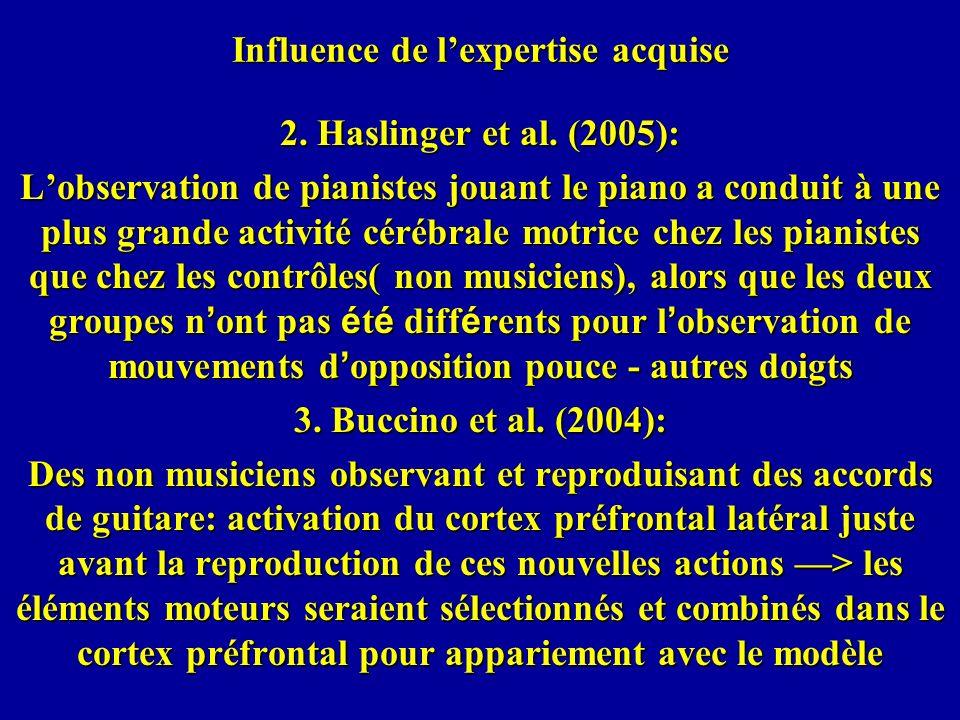 Influence de lexpertise acquise 2. Haslinger et al. (2005): Lobservation de pianistes jouant le piano a conduit à une plus grande activité cérébrale m