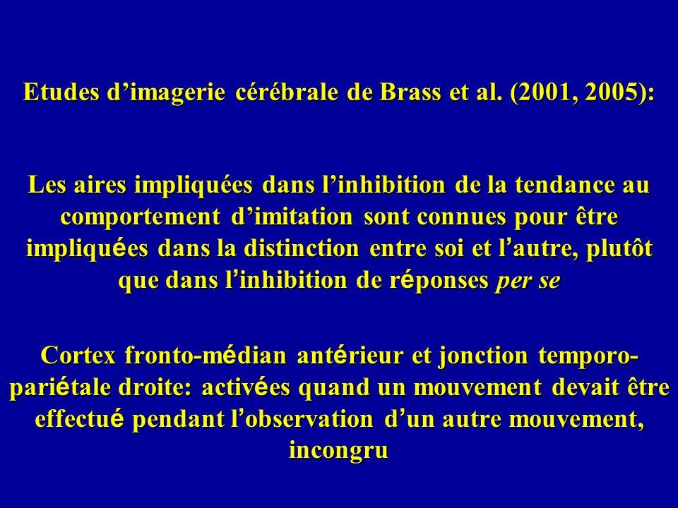 Etudes dimagerie cérébrale de Brass et al. (2001, 2005): Les aires impliquées dans linhibition de la tendance au comportement dimitation sont connues
