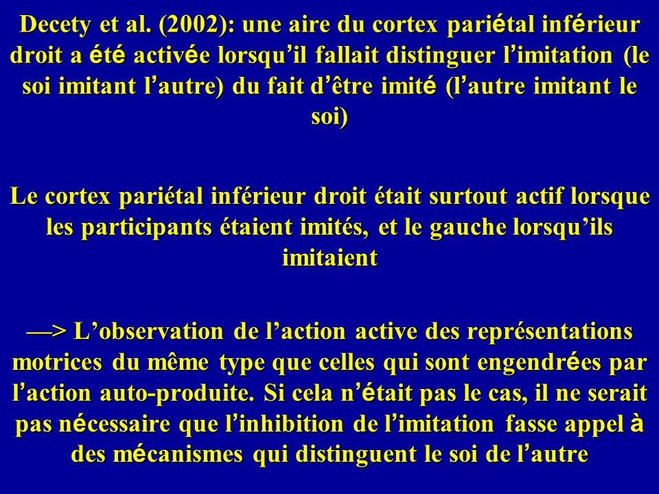 Decety et al. (2002): une aire du cortex pari é tal inf é rieur droit a é t é activ é e lorsqu il fallait distinguer l imitation (le soi imitant l aut
