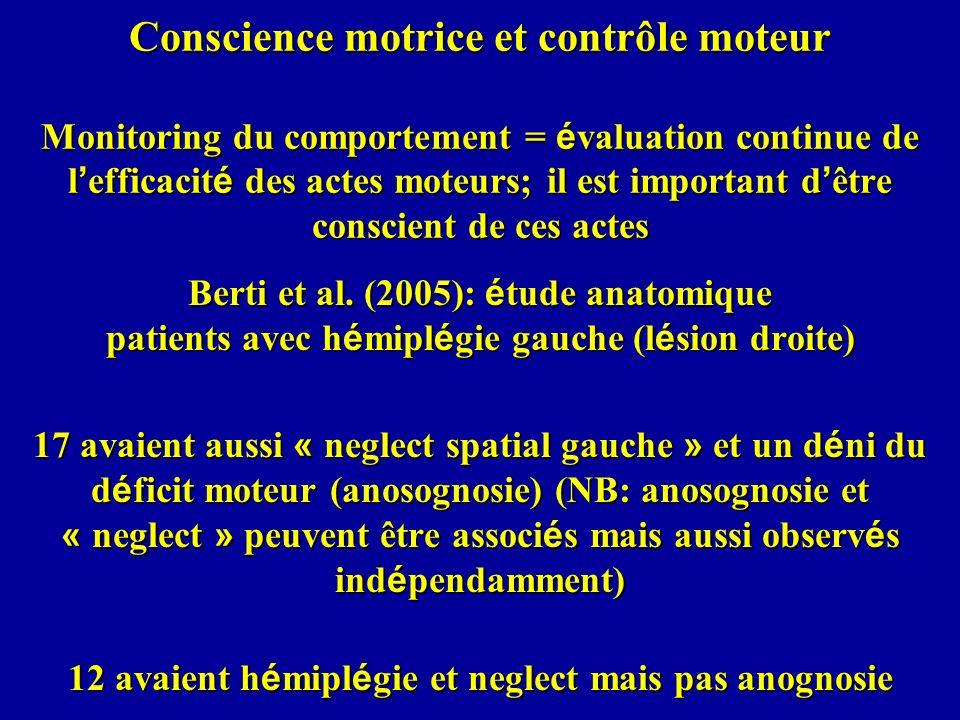 Conscience motrice et contrôle moteur Monitoring du comportement = é valuation continue de l efficacit é des actes moteurs; il est important d être co