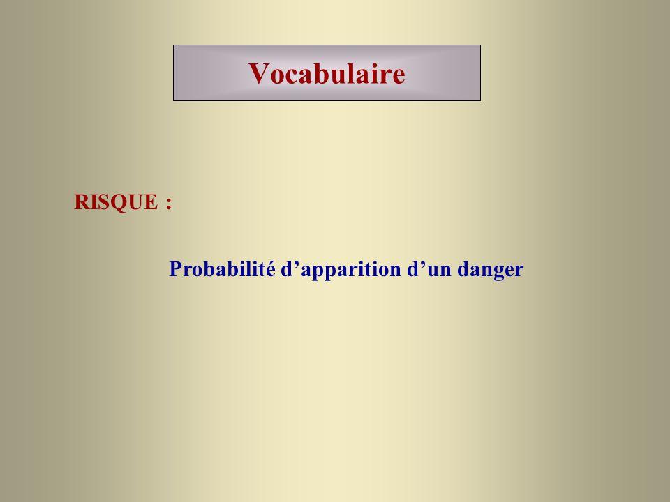 Vocabulaire RISQUE : Probabilité dapparition dun danger