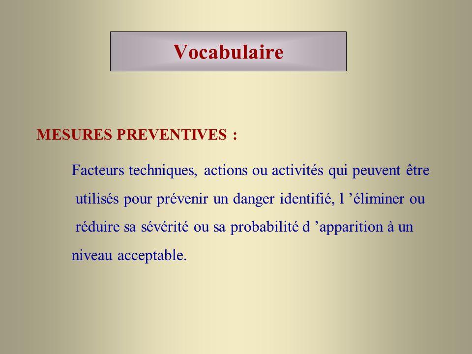 Vocabulaire MESURES PREVENTIVES : Facteurs techniques, actions ou activités qui peuvent être utilisés pour prévenir un danger identifié, l éliminer ou