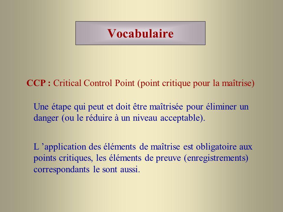 Vocabulaire CCP : Critical Control Point (point critique pour la maîtrise) Une étape qui peut et doit être maîtrisée pour éliminer un danger (ou le ré