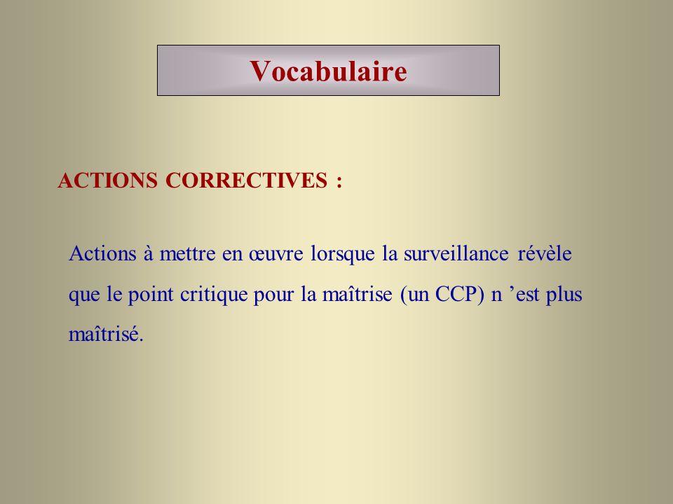 Vocabulaire ACTIONS CORRECTIVES : Actions à mettre en œuvre lorsque la surveillance révèle que le point critique pour la maîtrise (un CCP) n est plus
