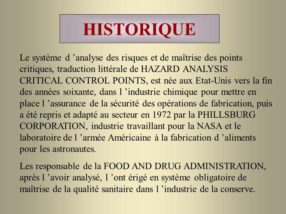 HISTORIQUE Le système d analyse des risques et de maîtrise des points critiques, traduction littérale de HAZARD ANALYSIS CRITICAL CONTROL POINTS, est