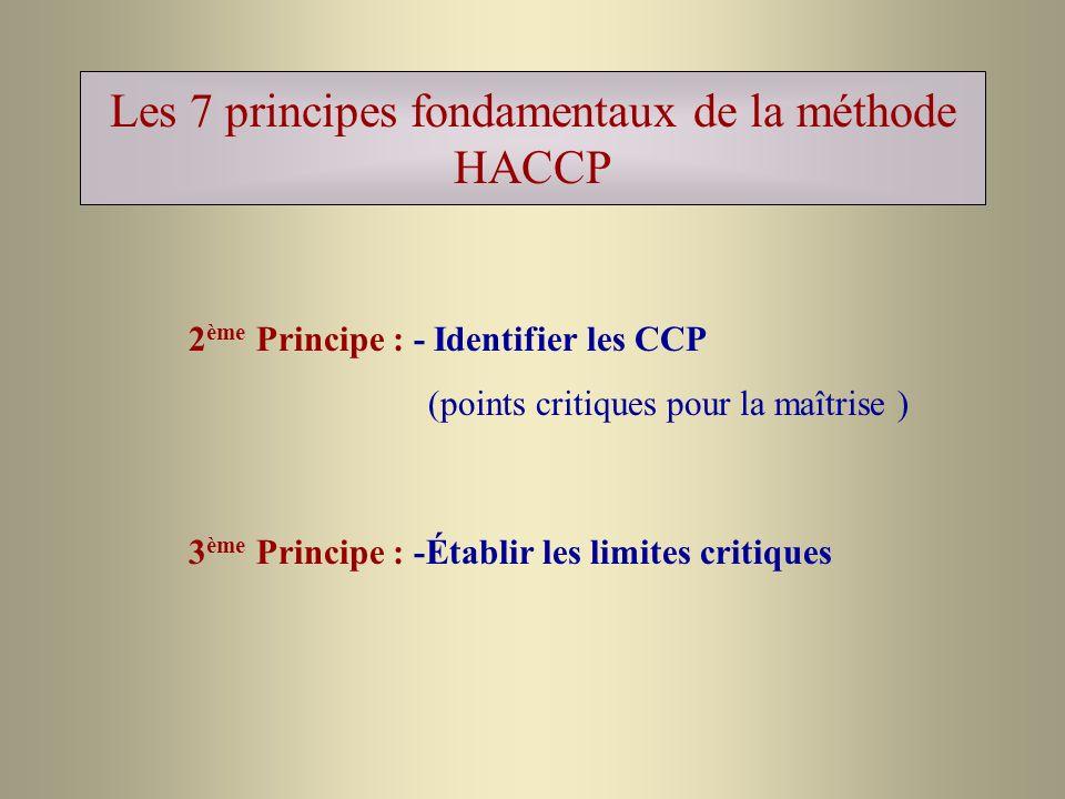 Les 7 principes fondamentaux de la méthode HACCP 2 ème Principe : - Identifier les CCP (points critiques pour la maîtrise ) 3 ème Principe : -Établir