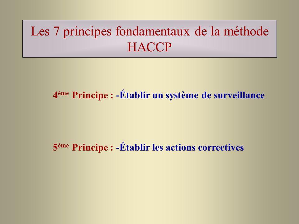 Les 7 principes fondamentaux de la méthode HACCP 4 ème Principe : -Établir un système de surveillance 5 ème Principe : -Établir les actions corrective