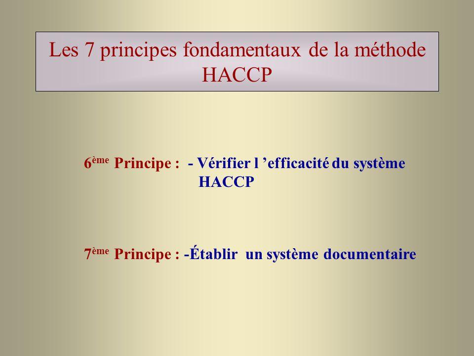 Les 7 principes fondamentaux de la méthode HACCP 6 ème Principe : - Vérifier l efficacité du système HACCP 7 ème Principe : -Établir un système docume