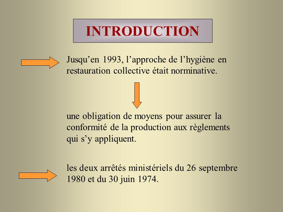 INTRODUCTION Jusquen 1993, lapproche de lhygiène en restauration collective était norminative.
