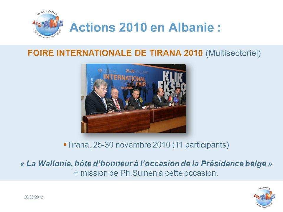 Actions 2010 en Albanie : 26/09/2012 FOIRE INTERNATIONALE DE TIRANA 2010 (Multisectoriel) Tirana, 25-30 novembre 2010 (11 participants) « La Wallonie,