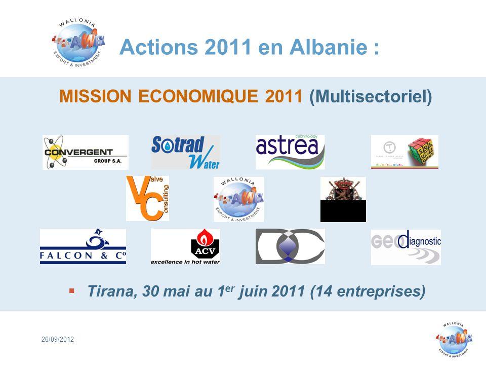 Actions 2011 en Albanie : MISSION ECONOMIQUE 2011 (Multisectoriel) Tirana, 30 mai au 1 er juin 2011 (14 entreprises) 26/09/2012