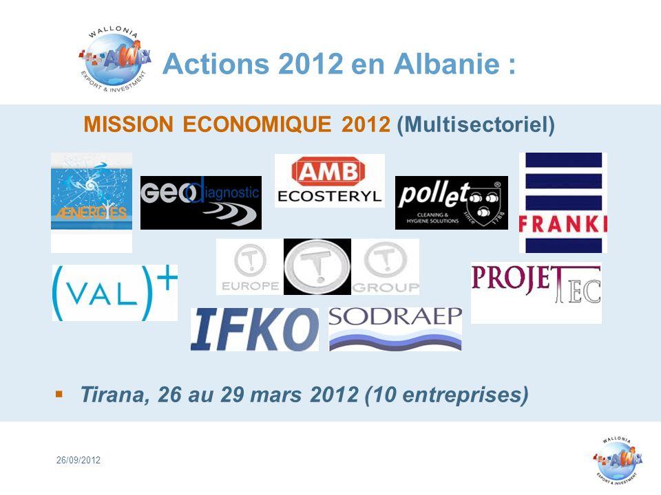 Actions 2012 en Albanie : 26/09/2012 MISSION ECONOMIQUE 2012 (Multisectoriel) Tirana, 26 au 29 mars 2012 (10 entreprises)