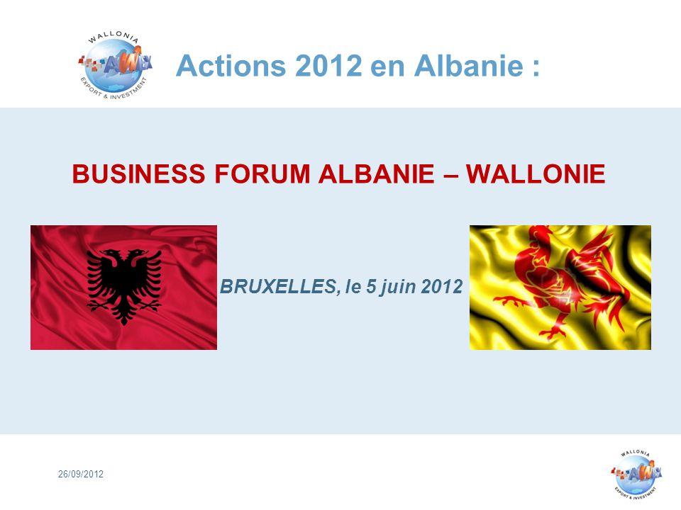 Actions 2012 en Albanie : BUSINESS FORUM ALBANIE – WALLONIE BRUXELLES, le 5 juin 2012 26/09/2012