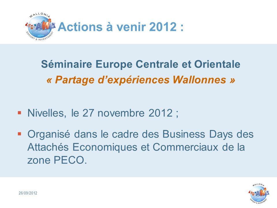 Actions à venir 2012 : Séminaire Europe Centrale et Orientale « Partage dexpériences Wallonnes » Nivelles, le 27 novembre 2012 ; Organisé dans le cadr