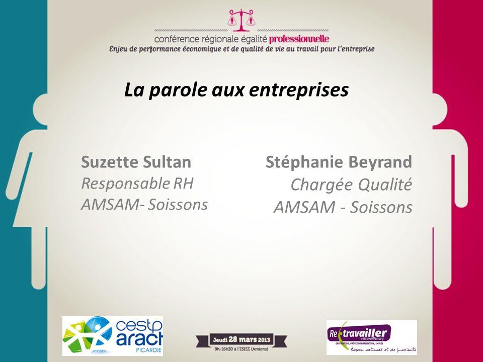 La parole aux entreprises Suzette Sultan Responsable RH AMSAM- Soissons Stéphanie Beyrand Chargée Qualité AMSAM - Soissons