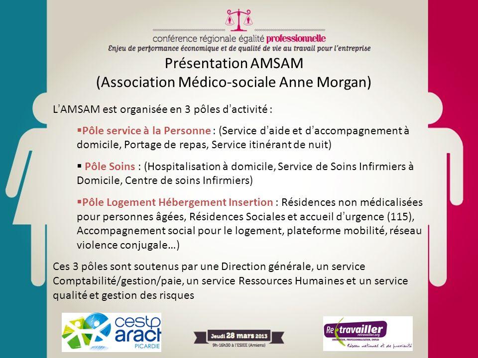 Présentation AMSAM (Association Médico-sociale Anne Morgan) LAMSAM est organisée en 3 pôles dactivité : Pôle service à la Personne : (Service daide et