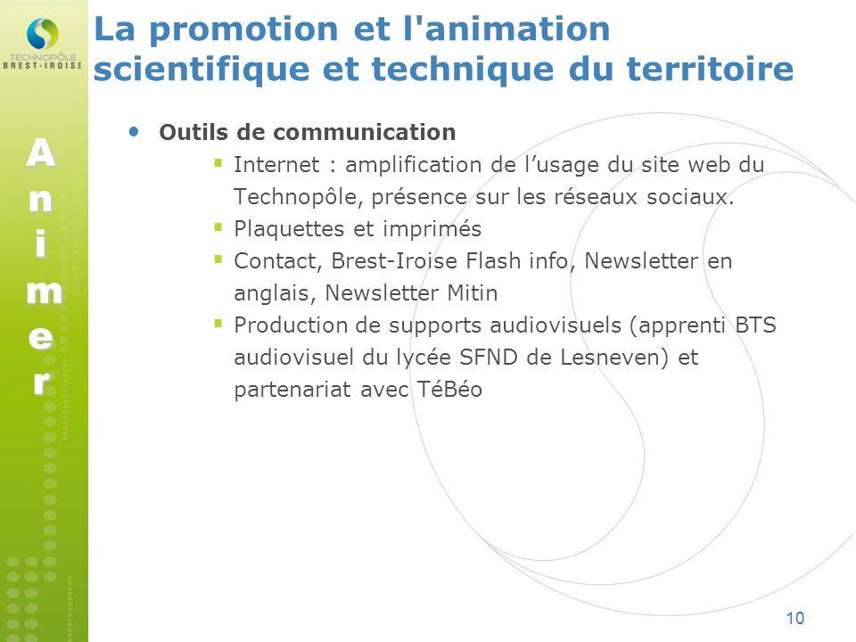 10 Outils de communication Internet : amplification de lusage du site web du Technopôle, présence sur les réseaux sociaux. Plaquettes et imprimés Cont