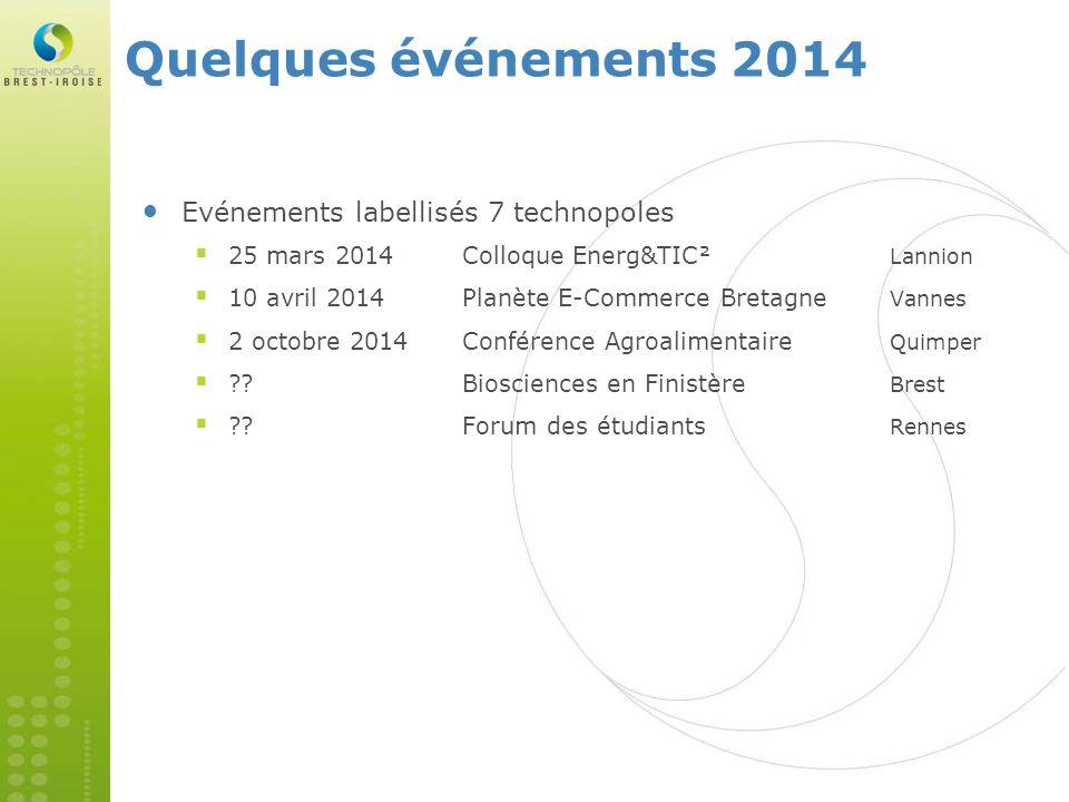 Evénements labellisés 7 technopoles 25 mars 2014Colloque Energ&TIC² Lannion 10 avril 2014Planète E-Commerce Bretagne Vannes 2 octobre 2014Conférence A