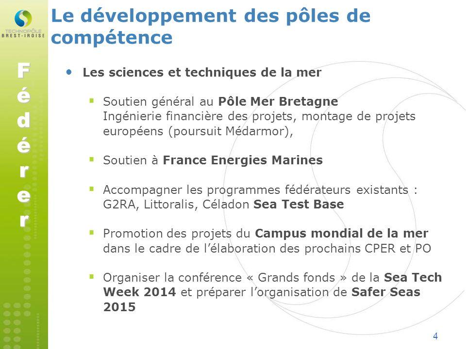 4 Le développement des pôles de compétence Les sciences et techniques de la mer Soutien général au Pôle Mer Bretagne Ingénierie financière des projets