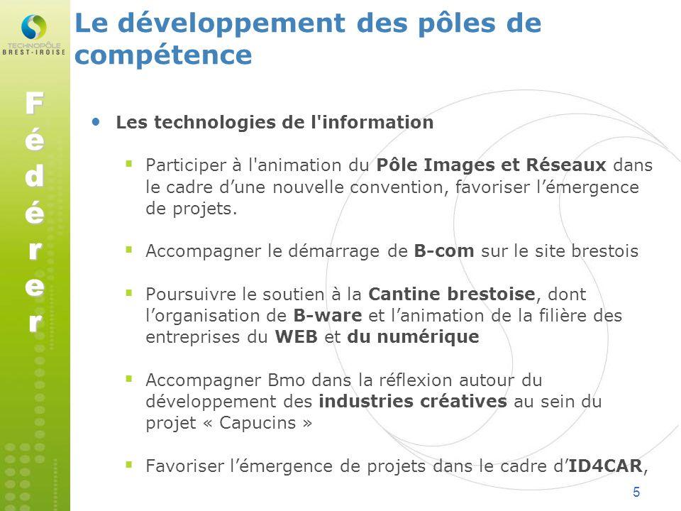 5 Le développement des pôles de compétence Les technologies de l'information Participer à l'animation du Pôle Images et Réseaux dans le cadre dune nou