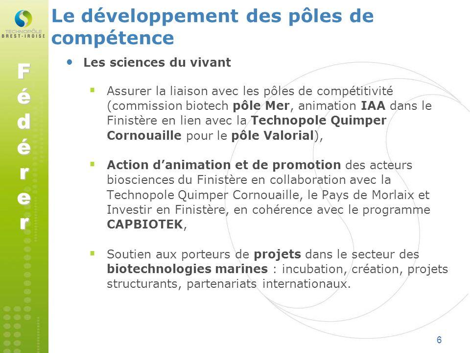 6 Les sciences du vivant Assurer la liaison avec les pôles de compétitivité (commission biotech pôle Mer, animation IAA dans le Finistère en lien avec