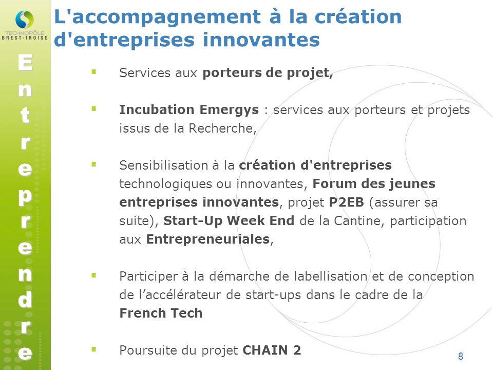 8 Services aux porteurs de projet, Incubation Emergys : services aux porteurs et projets issus de la Recherche, Sensibilisation à la création d'entrep