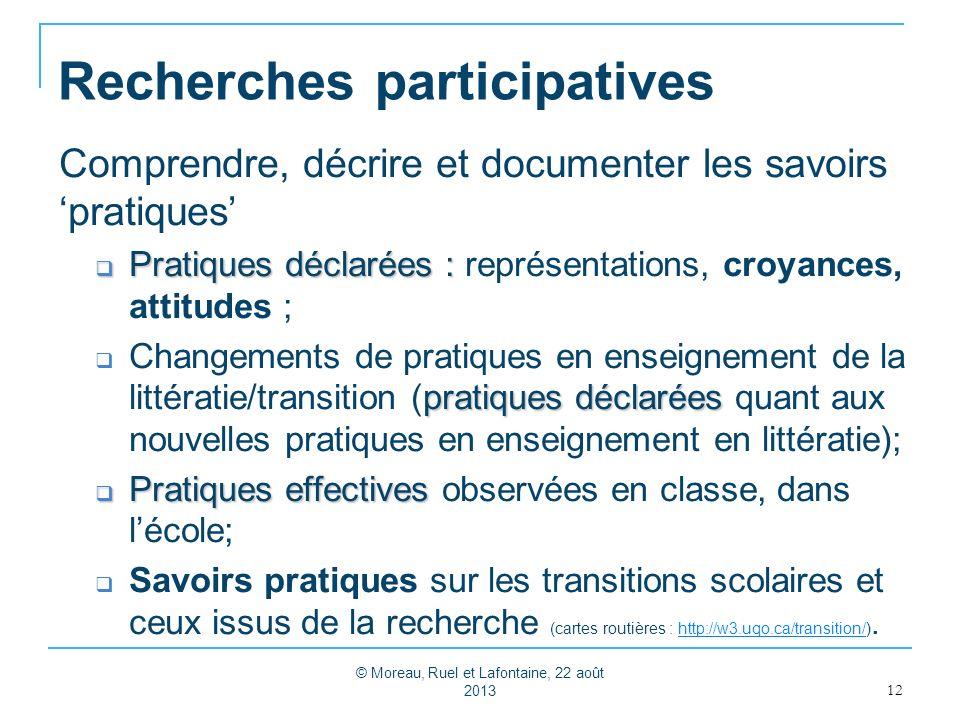 Recherches participatives Comprendre, décrire et documenter les savoirs pratiques Pratiques déclarées : Pratiques déclarées : représentations, croyanc