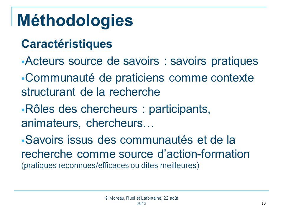 Méthodologies Caractéristiques Acteurs source de savoirs : savoirs pratiques Communauté de praticiens comme contexte structurant de la recherche Rôles
