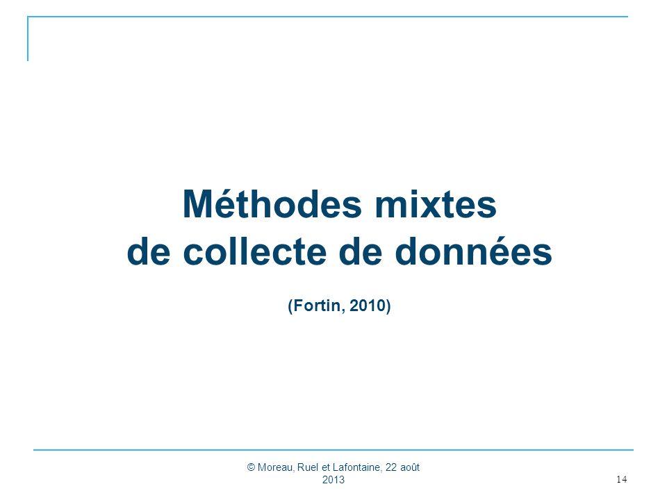Méthodes mixtes de collecte de données (Fortin, 2010) 14 © Moreau, Ruel et Lafontaine, 22 août 2013