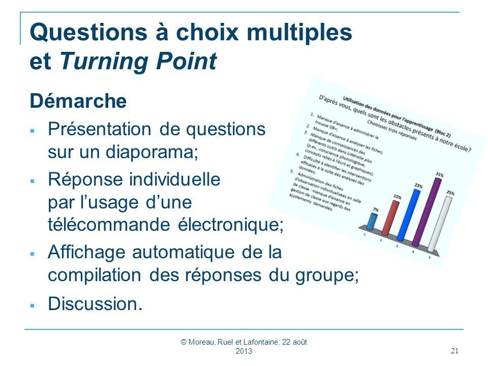 Questions à choix multiples et Turning Point Démarche Présentation de questions sur un diaporama; Réponse individuelle par lusage dune télécommande él