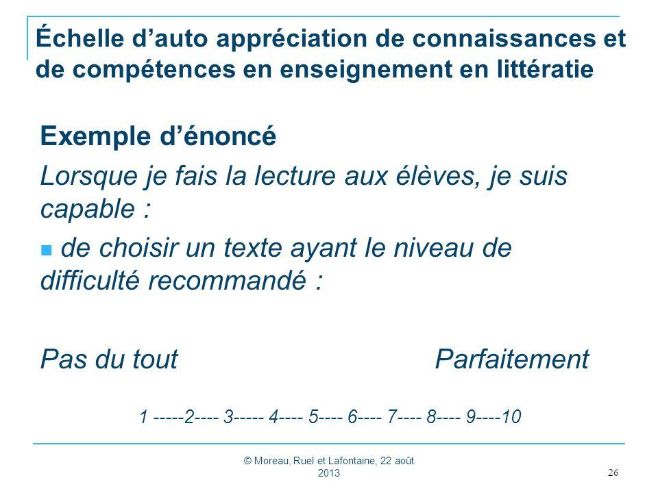 Échelle dauto appréciation de connaissances et de compétences en enseignement en littératie Exemple dénoncé Lorsque je fais la lecture aux élèves, je