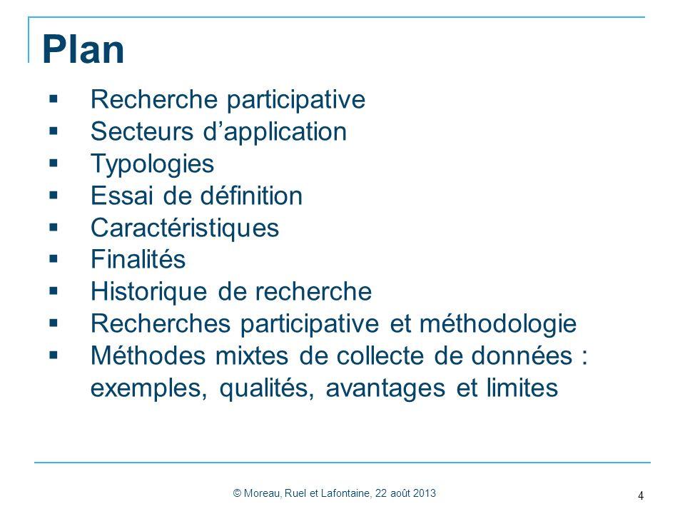 Plan © Moreau, Ruel et Lafontaine, 22 août 2013 4 Recherche participative Secteurs dapplication Typologies Essai de définition Caractéristiques Finali
