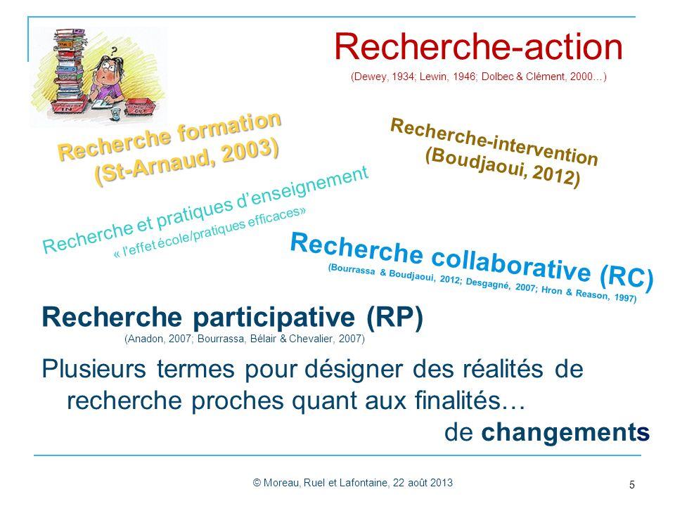 Recherche participative (RP) (Anadon, 2007; Bourrassa, Bélair & Chevalier, 2007) © Moreau, Ruel et Lafontaine, 22 août 2013 5 Recherche-intervention (Boudjaoui, 2012) Recherche collaborative (RC) (Bourrassa & Boudjaoui, 2012; Desgagné, 2007; Hron & Reason, 1997) Recherche-action (Dewey, 1934; Lewin, 1946; Dolbec & Clément, 2000…) Plusieurs termes pour désigner des réalités de recherche proches quant aux finalités… de changements Recherche et pratiques denseignement « l effet école/pratiques efficaces» Recherche formation (St-Arnaud, 2003)