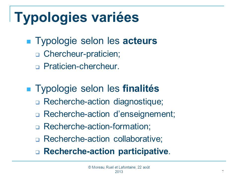 Typologies variées Typologie selon les acteurs Chercheur-praticien; Praticien-chercheur. Typologie selon les finalités Recherche-action diagnostique;