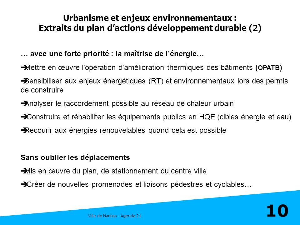 Ville de Nantes - Agenda 21 10 Urbanisme et enjeux environnementaux : Extraits du plan dactions développement durable (2) … avec une forte priorité :