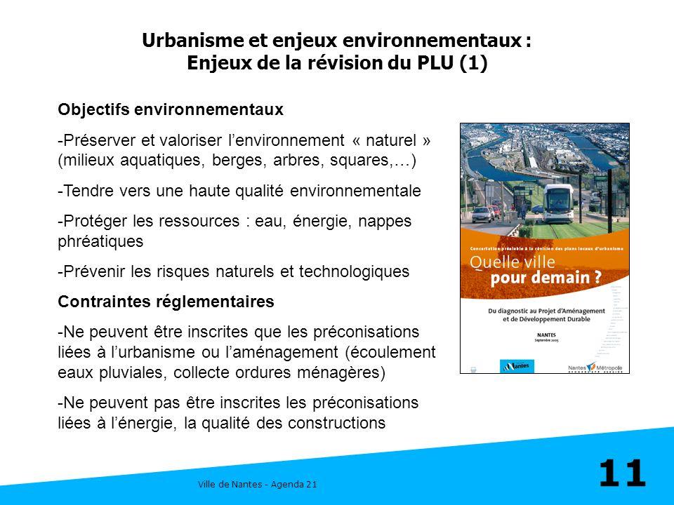 Ville de Nantes - Agenda 21 11 Urbanisme et enjeux environnementaux : Enjeux de la révision du PLU (1) Objectifs environnementaux -Préserver et valori