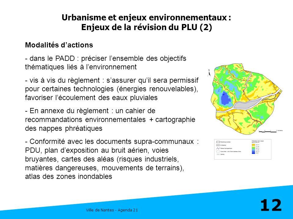 Ville de Nantes - Agenda 21 12 Urbanisme et enjeux environnementaux : Enjeux de la révision du PLU (2) Modalités dactions - dans le PADD : préciser le