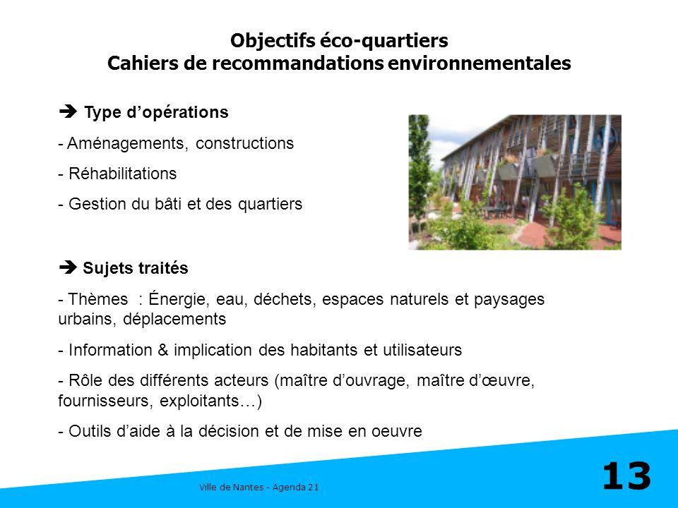Ville de Nantes - Agenda 21 13 Objectifs éco-quartiers Cahiers de recommandations environnementales Type dopérations - Aménagements, constructions - R